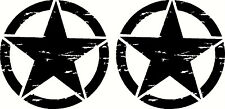 Military Oscar Mike Jeep Wrangler Distressed Star Sticker Decal Small Set
