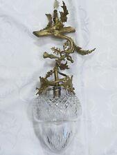 Jugendstil Hängelampe, Deckenlampe aus Bronze mit Kristallschirm