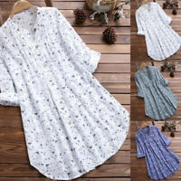 US Womens Oversized Long Sleeve Tops Shirt Casual Loose Boyfriend Mini Dress New
