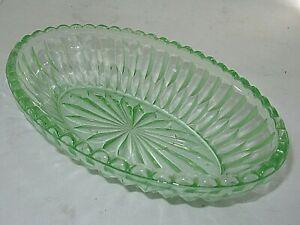 Vintage Depression Green Glass Oval Bowl Dish Australian Crown Crystal 1930 Era