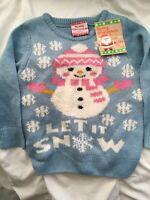 BNWT 'Store 21' Girls Light Blue & Pink Snowman Soft Christmas Jumper Ages 2-3