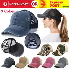 Unisex Women Ponytail Baseball Cap Messy Bun Baseball Snapback Hat Sun Sport Cap