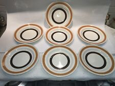 (7) Vintage Carrigaline COLLEEN Ireland Brown Bands Bread & Butter plates dishes