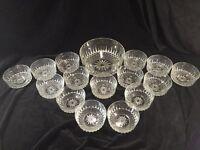 Vintage Arcoroc France Diamant 16 Piece Salad Bowl Set Clear Glass