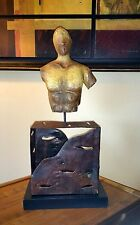 Abstract Male Torso Wood or Composite and Brutalist Metal Home Decor Sculpture