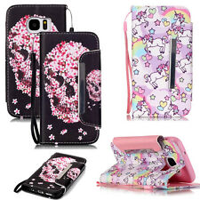 Unicorn/Flower Skull Style Flip Cover Wallet Leather Pouch Case For Cellphones