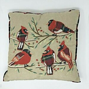 Pier 1 Christmas Pillow Cover Embroidered Red Birds 18 x 18