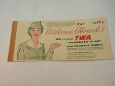 1958TWA Airlines Ticket and Baggage Check San Fran to New York to Providence