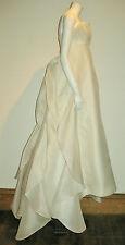 ANGEL SANCHEZ rare silk ivory Wedding Dress UK 8 unique designer $10,000 USD