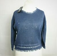Luisa Cerano Blue Sequined 3/4 Sleeve V Neck Jumper Size 12 uk CR093 AA 16