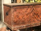 Antique Primitive Grain Painted Blanket Chest  Dovetailed  Early Nails   Hinges