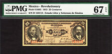 Mexico 25 Centavos 1915 Pick-S1041 SUPERB GEM UNC PMG 67 EPQ HIGHEST GRADE !