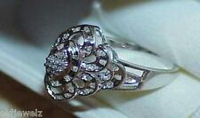 gold Filigree Ring Modern Dome Sz7.25 10K 1.00 Ct Diamond Cocktail Cluster White