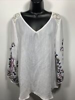 Fig & Flower Womans Embroidered Floral Top White Size Medium Lace Details