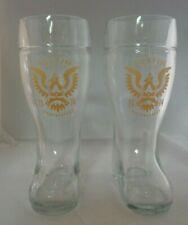 Austin Beer Works Pair Glasses Craft Brewery 2014 Oktoberfest Boot Tall Heavy