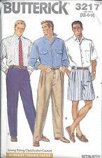 Butterick Sewing Pattern # 3217 Mens Shirt Shorts and Pants Size XS-S-M