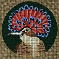 Needlepoint Handpainted Dede Coaster Bird Northern Royal Flycatcher 5.5""