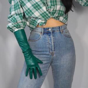 "LONG GLOVES Faux Leather Lambskin 24"" 60cm Kelly Green Forest Touchscreen"
