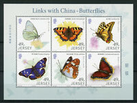 Jersey 2017 MNH Butterflies Links with China 6v M/S Butterfly Insects Stamps