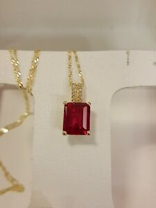 14k Gold Over Silver Lab-Created Ruby & Diamond Accent Pendant $275