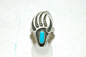 Ladies turquoise bear Paw Ring Sterling Silver