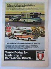 VTG 1974 Dodge Mini Motor Home Pick-up Club Cab Camper Print Ad Page Recreation
