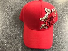 NEW Women'sRed Flower Hook & Loop Adjustable Baseball Cap - FREE SHIPPING