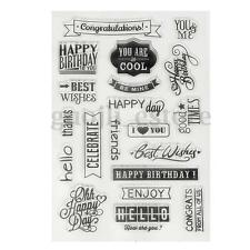 Happy Birthday Transparent Silicone Rubber Clear Stamp Cling Seal Scrapbooking
