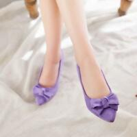 Chic Womens Suede Pointy Toe Pumps Mid Block Heels Bowknot Slip On dress Shoes