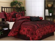 Cal King Size Red Black Bed Set 7 Piece Bedding Comforter Set