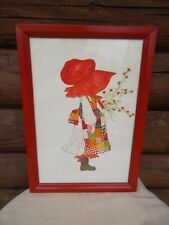Vintage Large Holly Hobbie Painting - Framed Signed, Girls Bedroom Decor