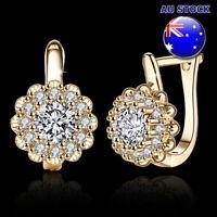 Elegant 18K Yellow Gold Filled Cubic Zirconia Crystal Flower Huggie Hoop Earring