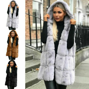 Women's Faux Fur Sleeveless Vest Winter Autumn Casual Slim Waistcoat Warm Coat