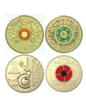 mix of Australian coloured coin.rare armistice, invictus,remembrance coin.4 coin