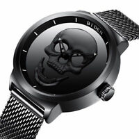 BIDEN 3D Skull Men's Quartz Watch Mesh Stainless Steel Band Sport Military Gift