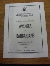 Programa de Unión de Rugby 08/04/1985: Swansea V bárbaros (4 páginas). fútbol Progs/Bo