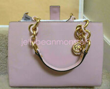 MICHAEL KORS Cynthia Medium NS Leather Satchel Bag Crossbody Blossom Pink New