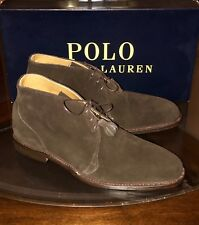 """Ralph Lauren Ankle Boots Shoes """"Prestwick"""" Sz 9D Made In USA In Box Brown Suede"""