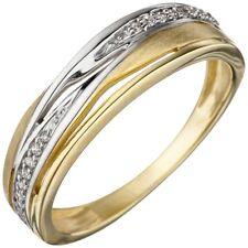 Ring Damenring mit Zirkonia 333 Gold Gelbgold bicolor mattiert Fingerring