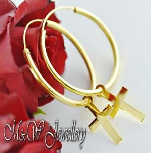925 Sterling Silver Gold Plated Earrings 30mm Hoop with CROSSES