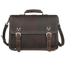 Vintage Men's Leather 15'' Laptop Briefcase Shoulder Bag Attache Portfolio Tote