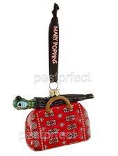 Disney VHTF MARY POPPINS CARPET BAG GLASS CHRISTMAS ORNAMENT Parrot Umbrella NIB