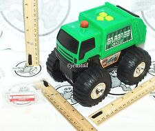 FAST LANE CITY RESPONSE GREEN GARBAGE TOY TRUCK VEHICLE SOUND LIGHT ROLLS USED