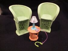 Barbie tiki bar 2  wicker lounge chairs and table rare