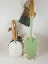 Pure Care 2pc Microfiber Duster & Glass Brush With Bamboo Handle. New