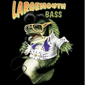 Bass Shirt, Large Mouth Elvis Presley inspired T-Shirt, Fishing, Small - 5X