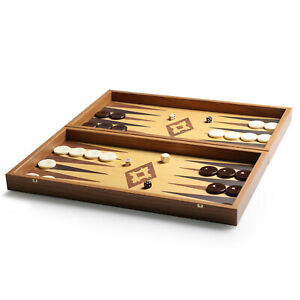 Oak Walnut Replica Backgammon Board Set Classic Game 48cm x 26cm Gift New