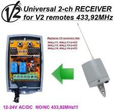 V2 Wally 1,2,4 compatible universal 2-ch receptor,12-24 VAC/VDC