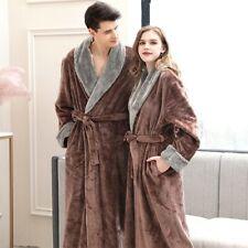Women Winter Plus Size Long Flannel Bathrobe Warm Pink Bath Robe Night Fur Robe