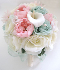 Wedding Bridal Bouquets 17 pc package Silk Flowers Light PINK MINT CREAM LILY
